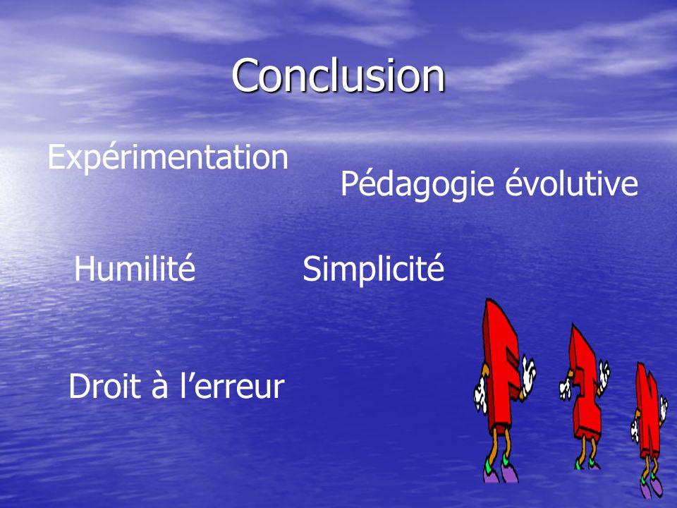 Conclusion Expérimentation Pédagogie évolutive Humilité Simplicité