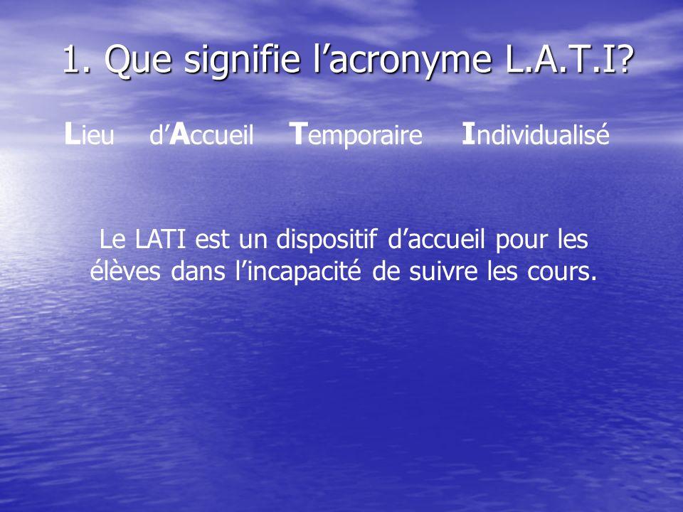 1. Que signifie l'acronyme L.A.T.I
