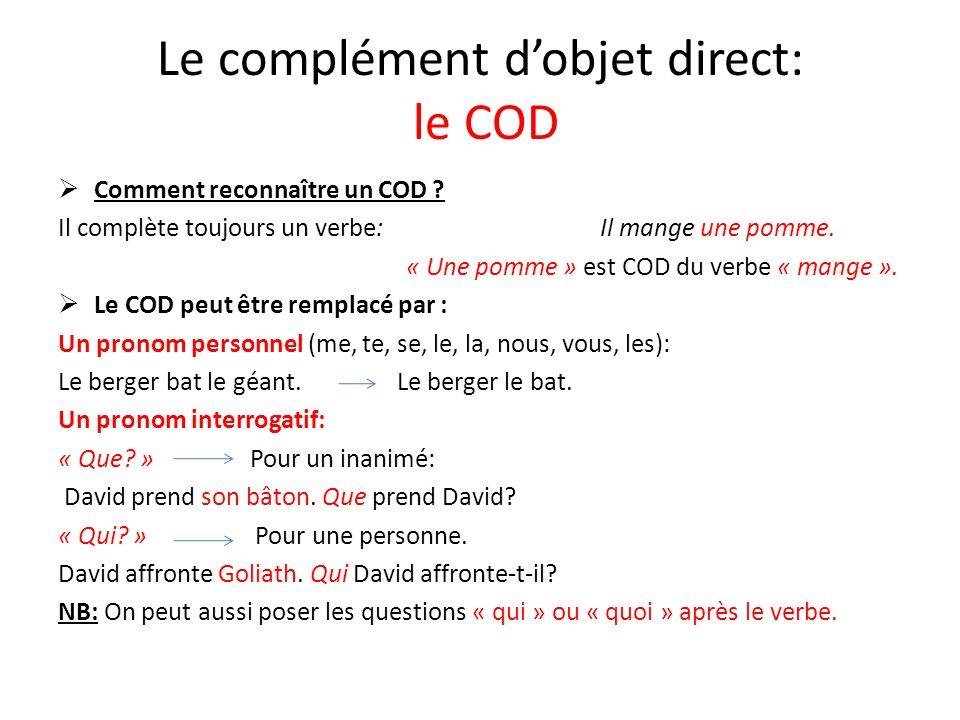 Le complément d'objet direct: le COD