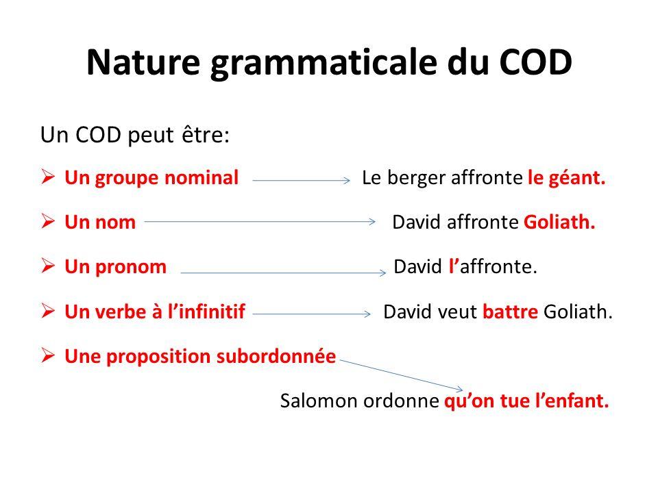 Nature grammaticale du COD