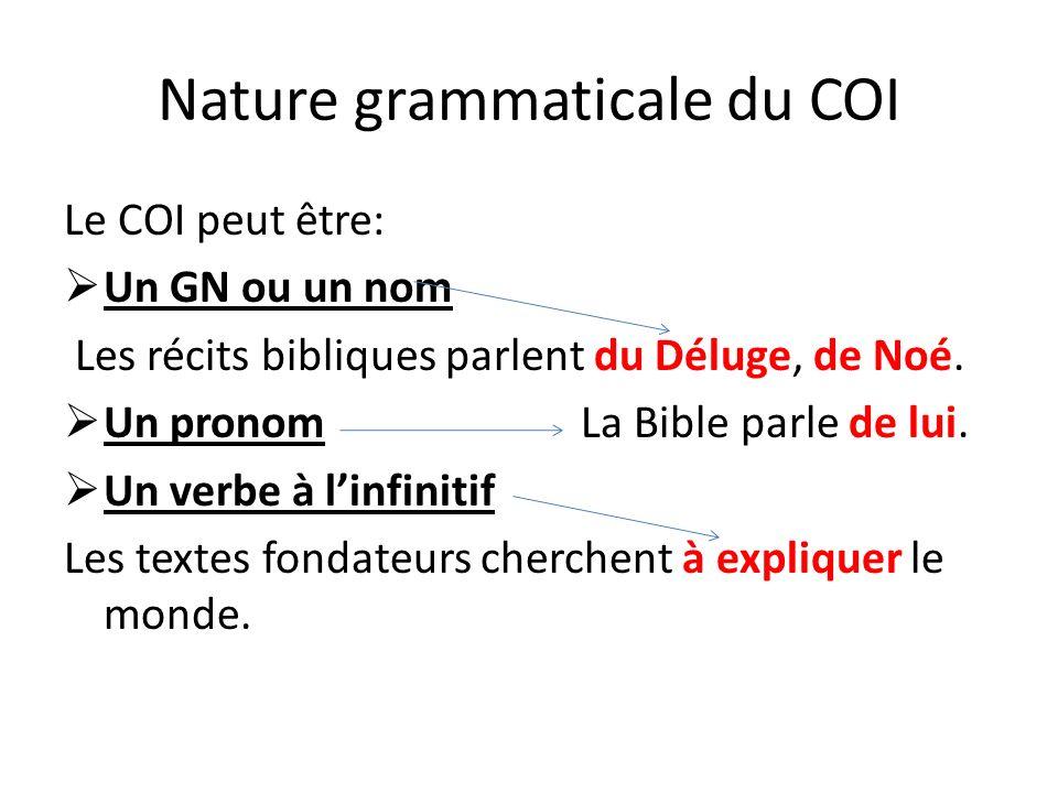 Nature grammaticale du COI