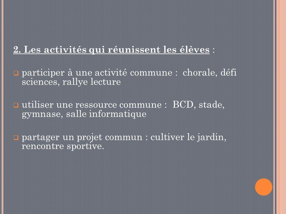 2. Les activités qui réunissent les élèves :