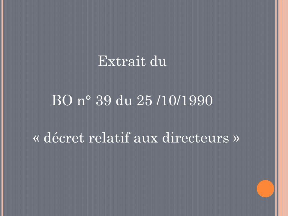 Extrait du BO n° 39 du 25 /10/1990 « décret relatif aux directeurs »