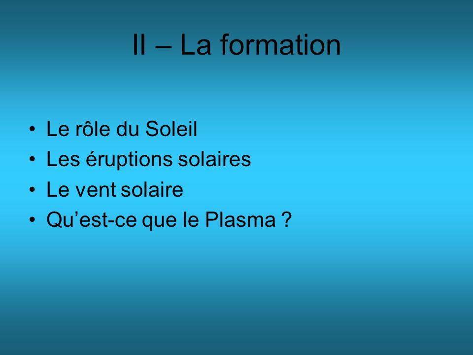 II – La formation Le rôle du Soleil Les éruptions solaires