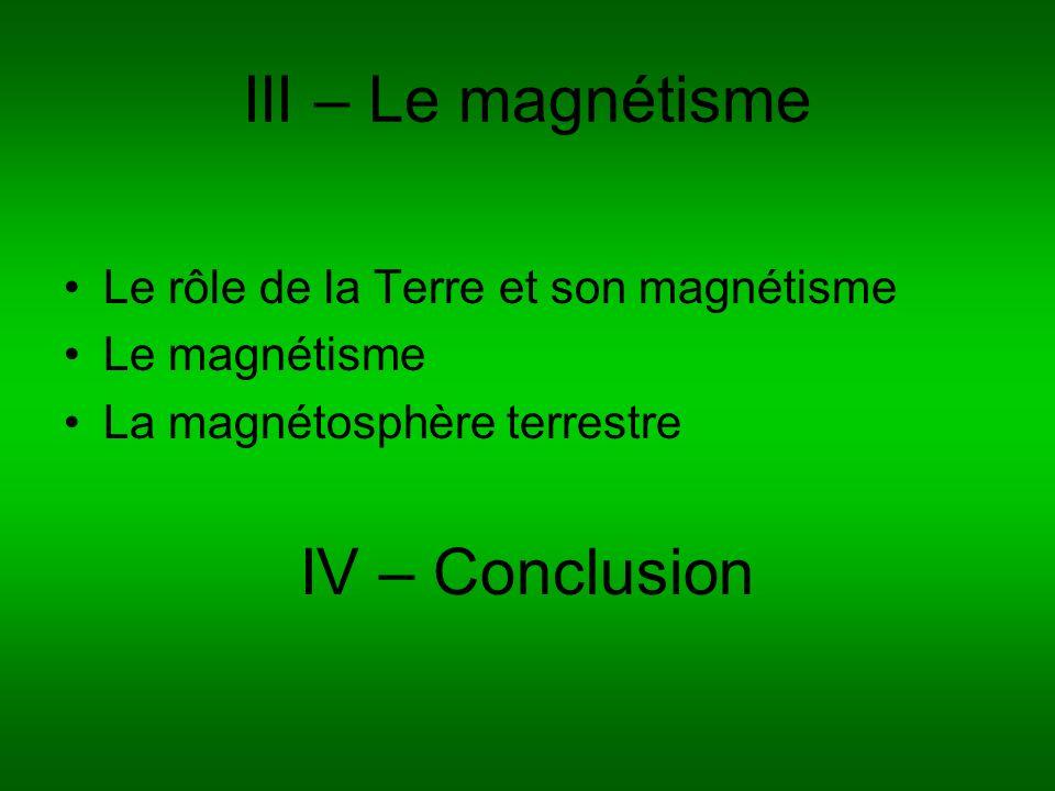 III – Le magnétisme IV – Conclusion