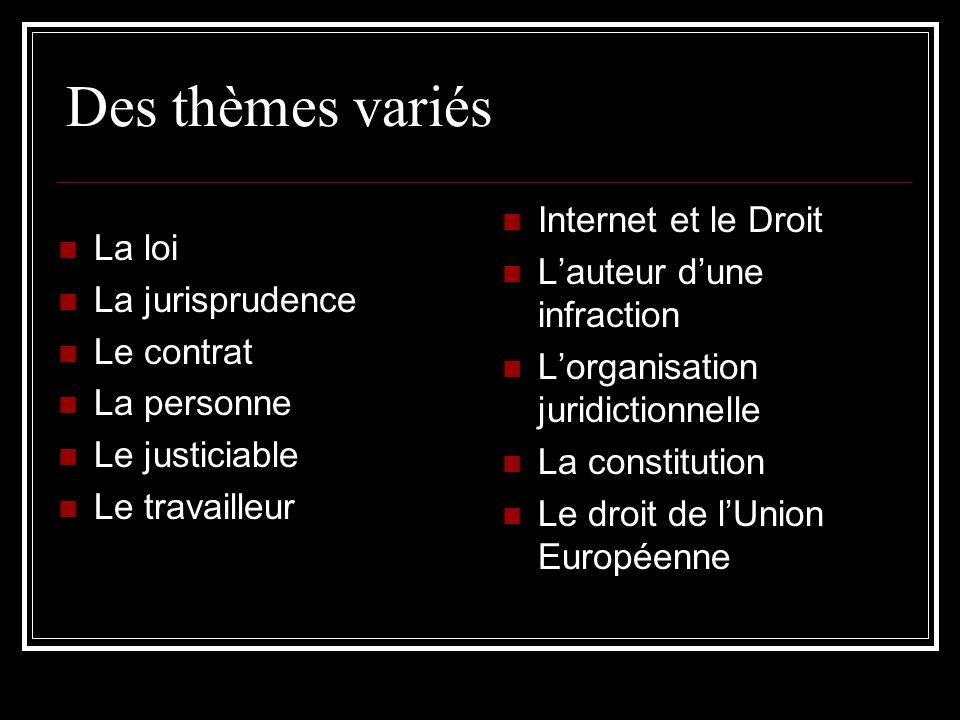 Des thèmes variés La loi Internet et le Droit La jurisprudence