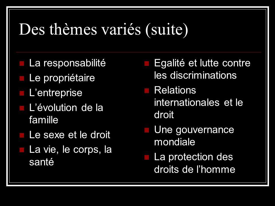 Des thèmes variés (suite)