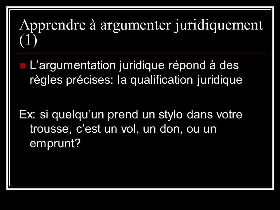 Apprendre à argumenter juridiquement (1)