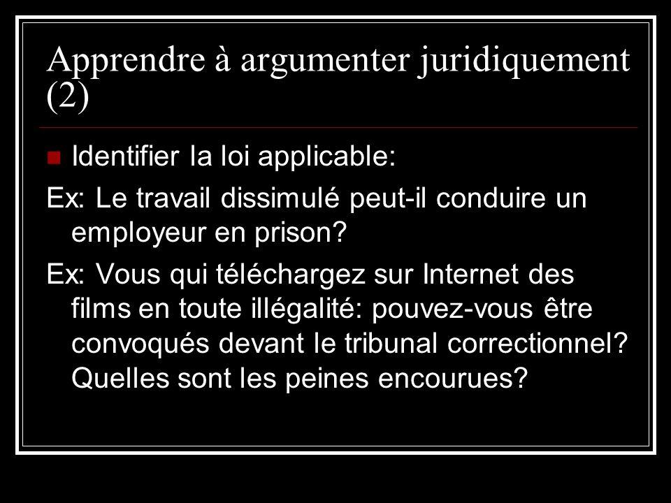 Apprendre à argumenter juridiquement (2)