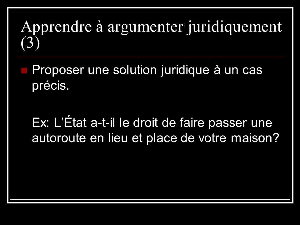 Apprendre à argumenter juridiquement (3)