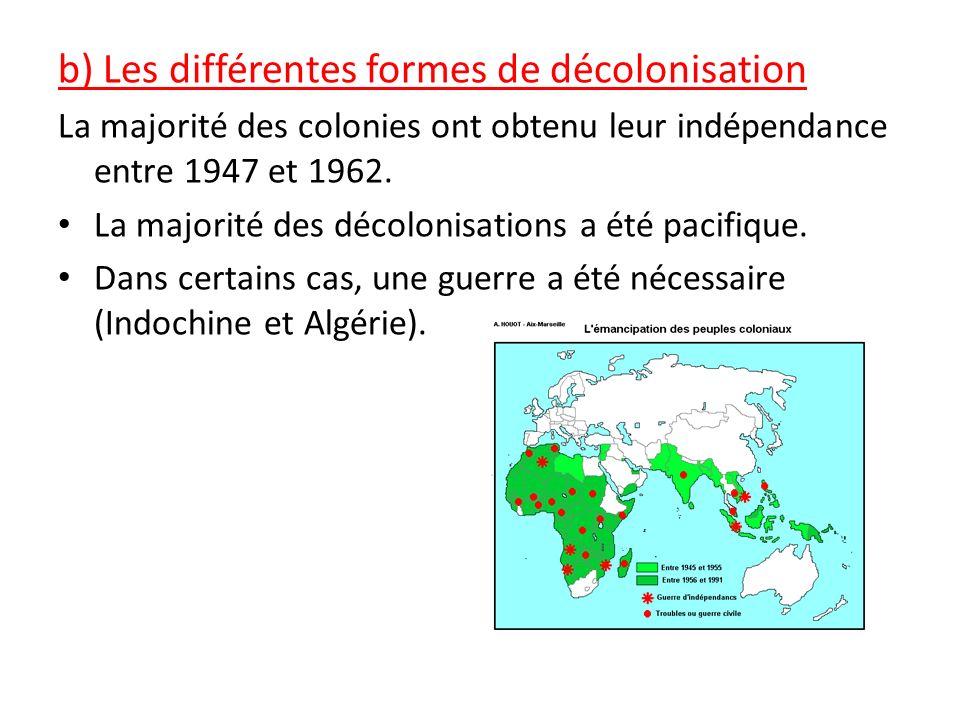 b) Les différentes formes de décolonisation