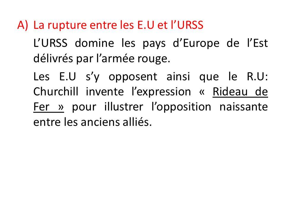 La rupture entre les E.U et l'URSS