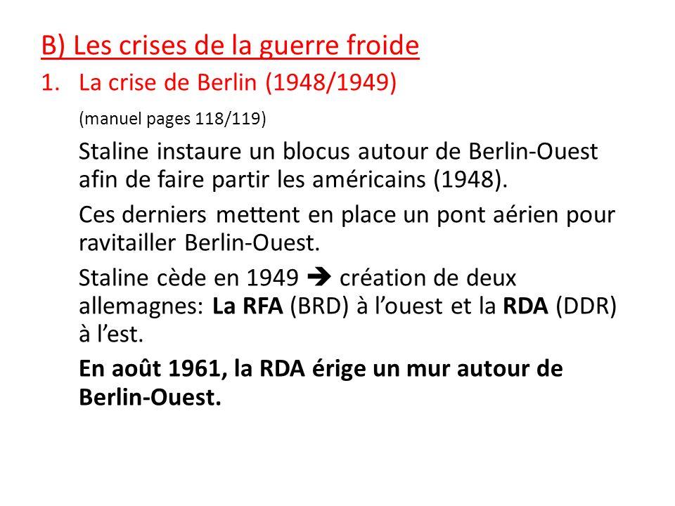 B) Les crises de la guerre froide