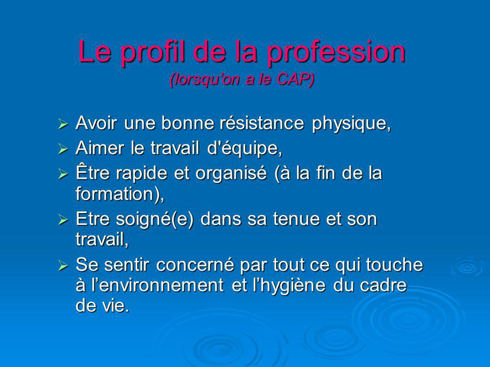 Le profil de la profession (lorsqu'on a le CAP)