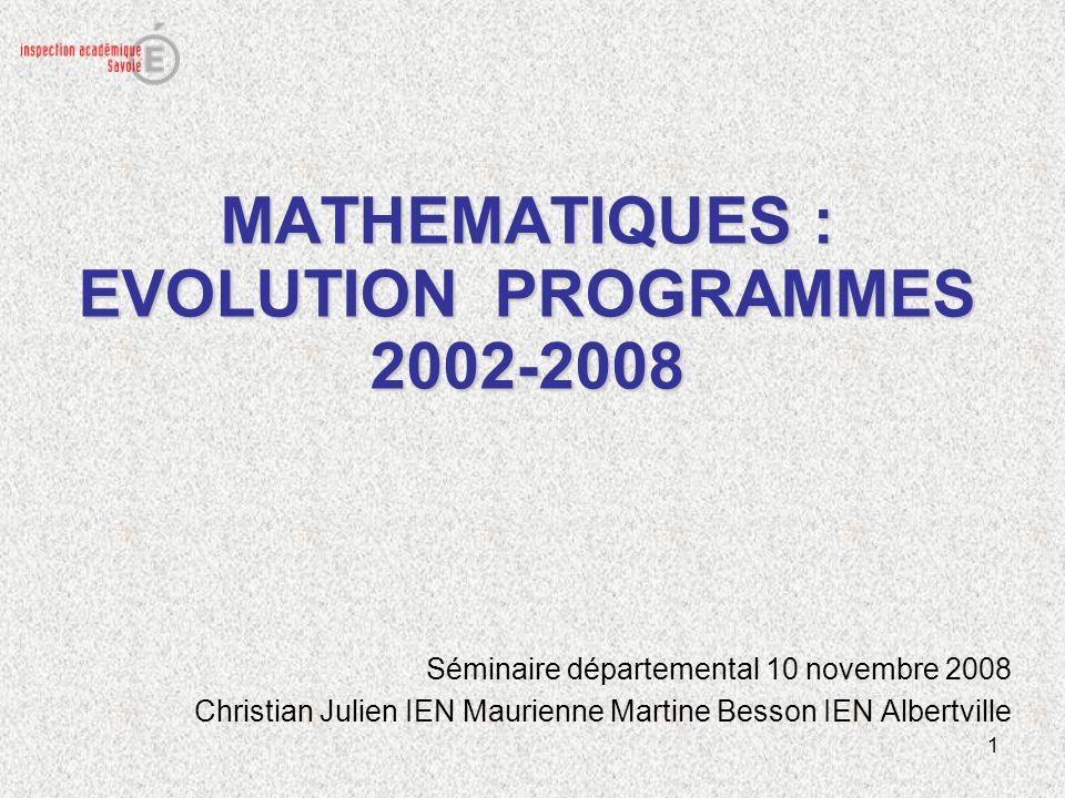 MATHEMATIQUES : EVOLUTION PROGRAMMES 2002-2008