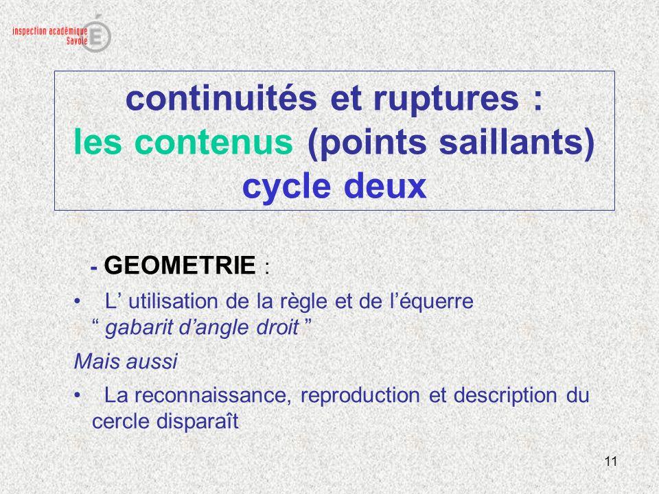 continuités et ruptures : les contenus (points saillants) cycle deux