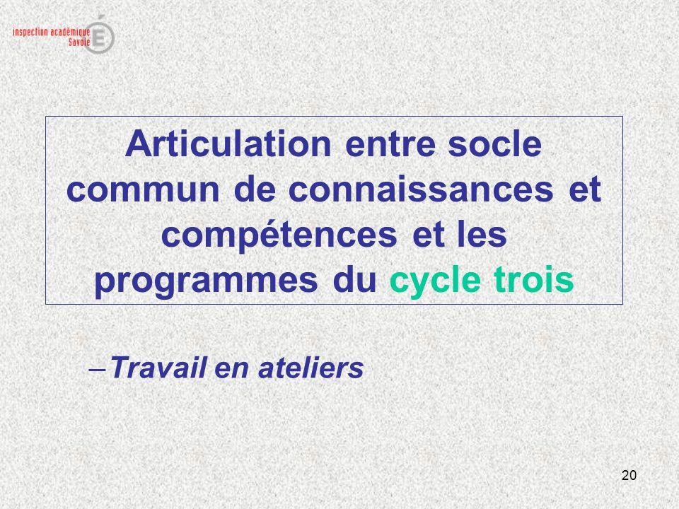 Articulation entre socle commun de connaissances et compétences et les programmes du cycle trois