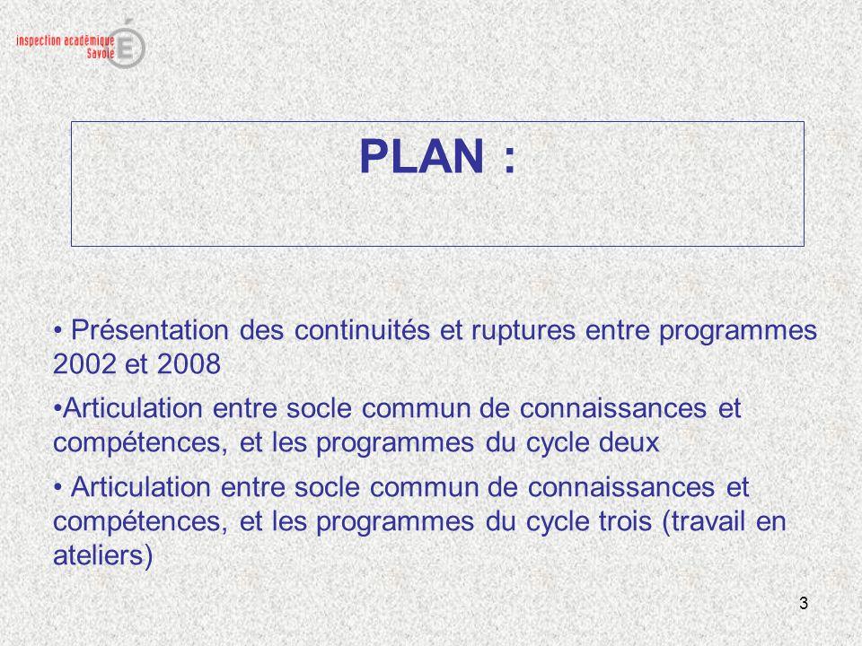 PLAN : Présentation des continuités et ruptures entre programmes 2002 et 2008.