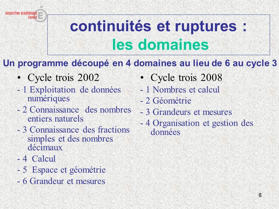 continuités et ruptures : les domaines