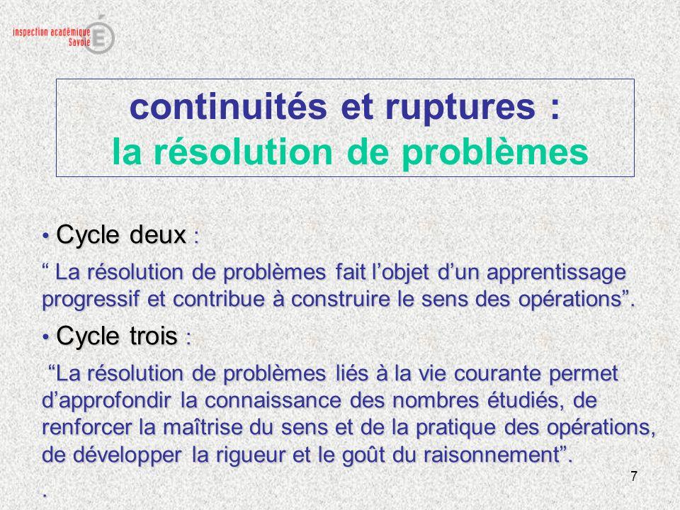continuités et ruptures : la résolution de problèmes