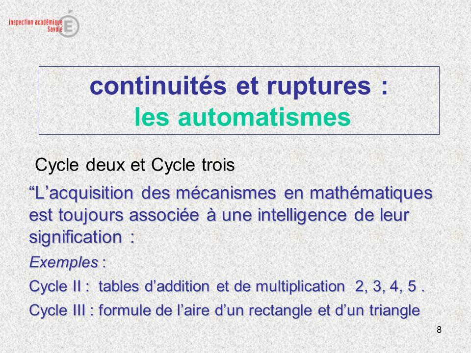 continuités et ruptures : les automatismes