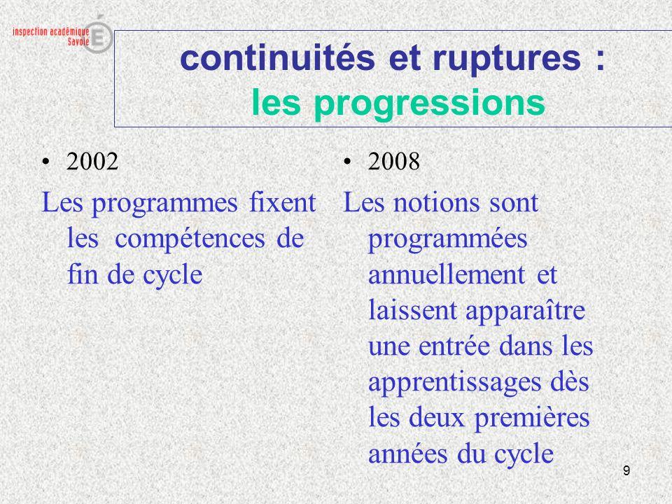 continuités et ruptures : les progressions