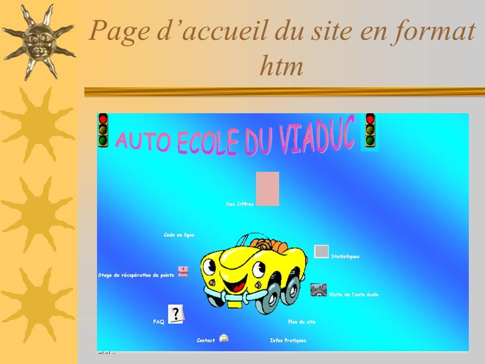 Page d'accueil du site en format htm