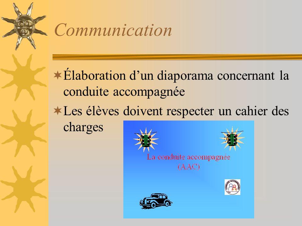 Communication Élaboration d'un diaporama concernant la conduite accompagnée.