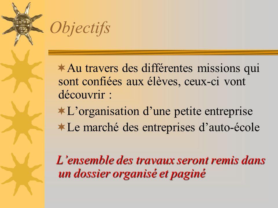 Objectifs Au travers des différentes missions qui sont confiées aux élèves, ceux-ci vont découvrir :