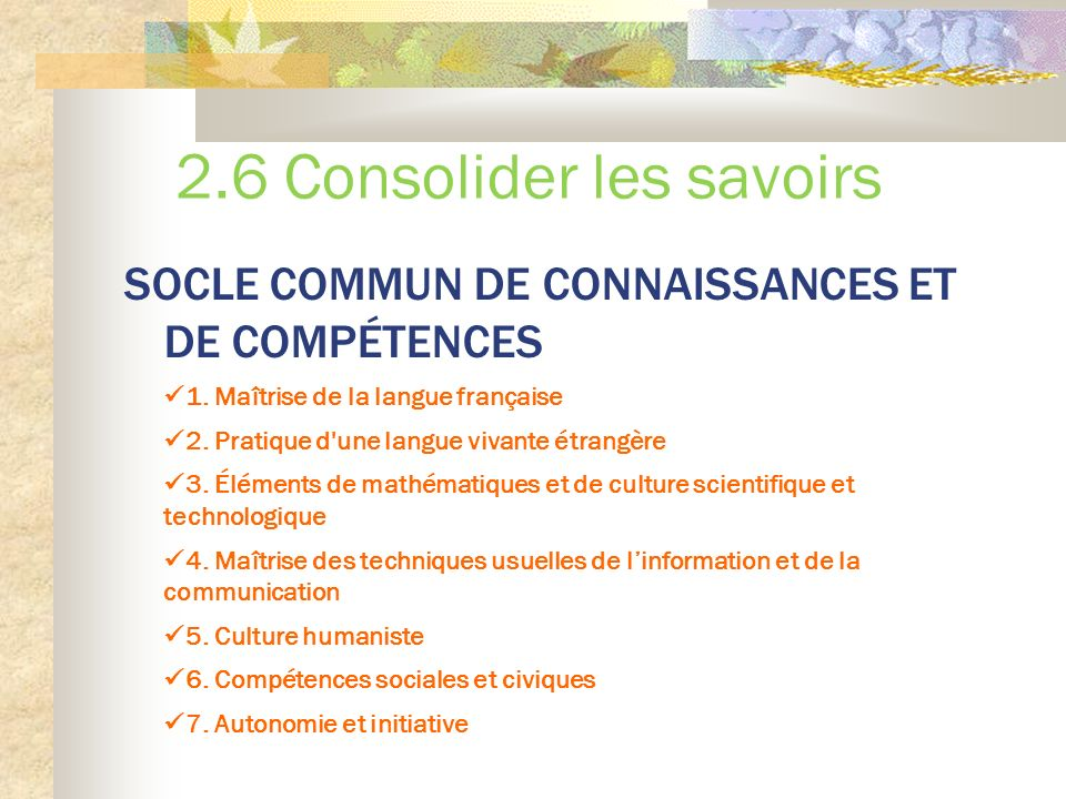 2.6 Consolider les savoirs