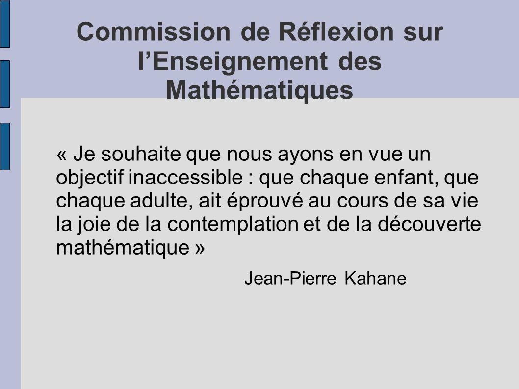 Commission de Réflexion sur l'Enseignement des Mathématiques