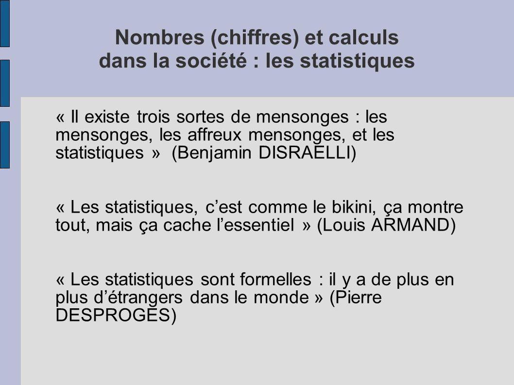 Nombres (chiffres) et calculs dans la société : les statistiques