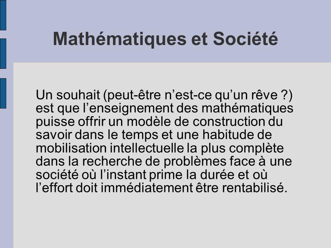 Mathématiques et Société