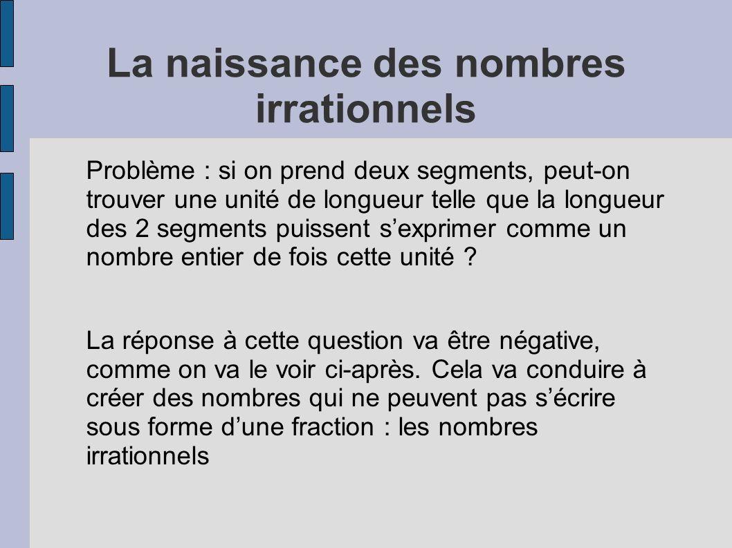 La naissance des nombres irrationnels