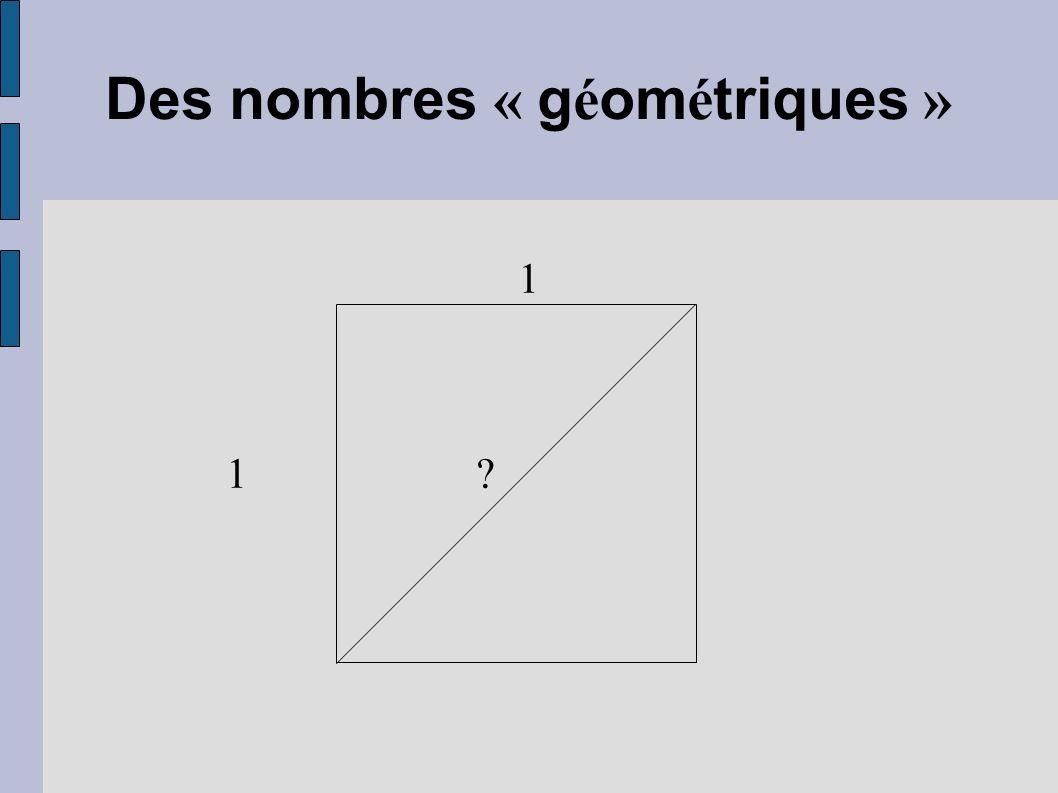 Des nombres « géométriques »