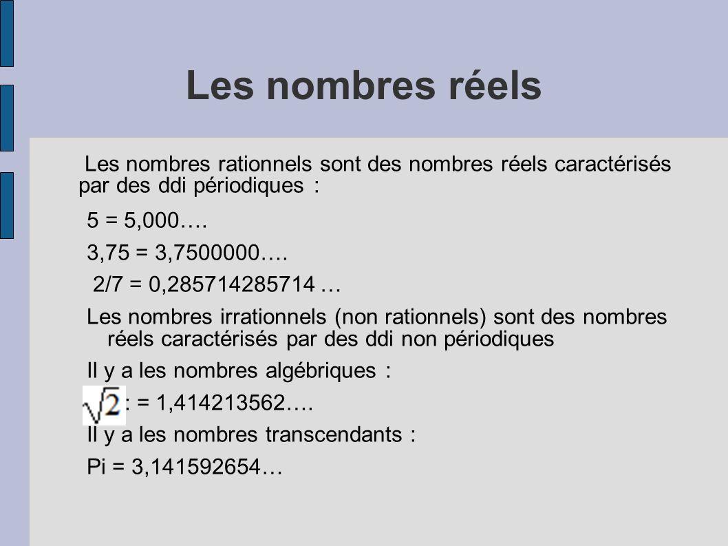 Les nombres réels Les nombres rationnels sont des nombres réels caractérisés par des ddi périodiques :