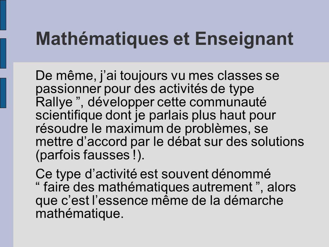 Mathématiques et Enseignant