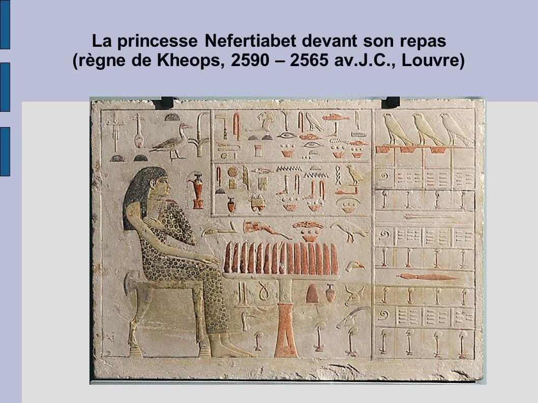 La princesse Nefertiabet devant son repas (règne de Kheops, 2590 – 2565 av.J.C., Louvre)