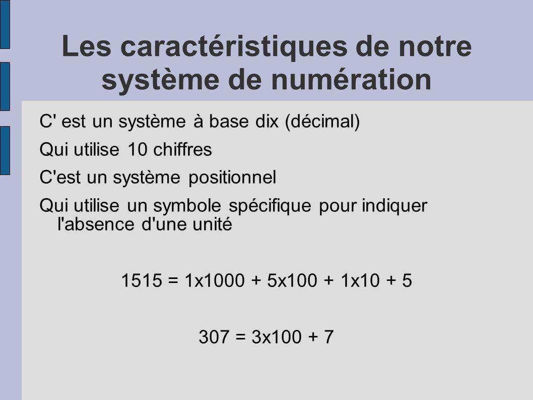 Les caractéristiques de notre système de numération