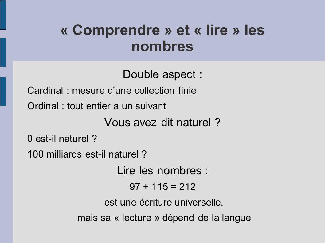 « Comprendre » et « lire » les nombres