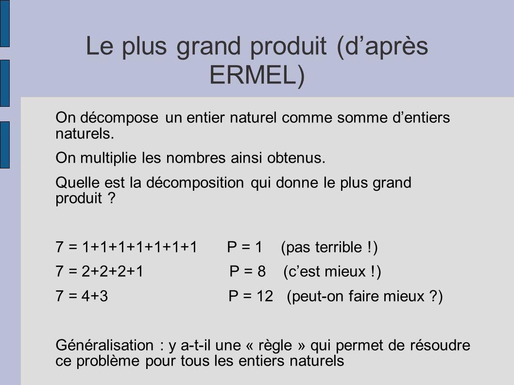 Le plus grand produit (d'après ERMEL)