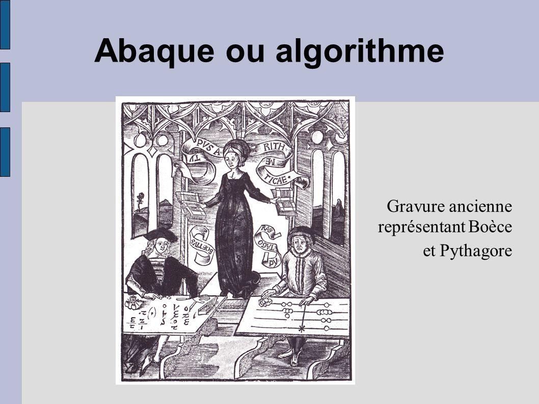 Gravure ancienne représentant Boèce et Pythagore