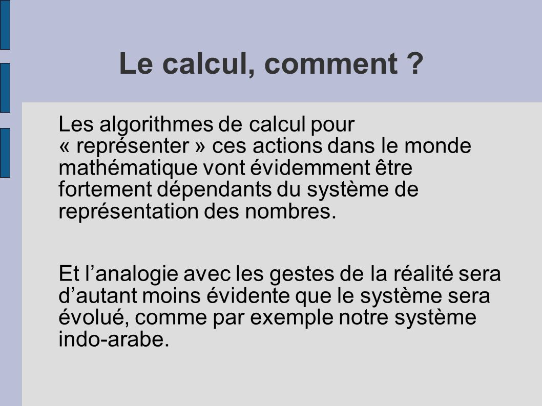 Le calcul, comment