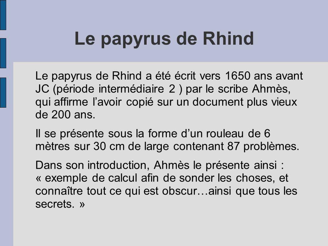 Le papyrus de Rhind