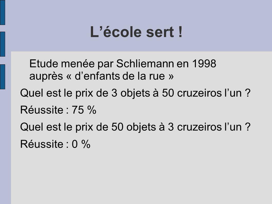 L'école sert ! Etude menée par Schliemann en 1998 auprès « d'enfants de la rue » Quel est le prix de 3 objets à 50 cruzeiros l'un