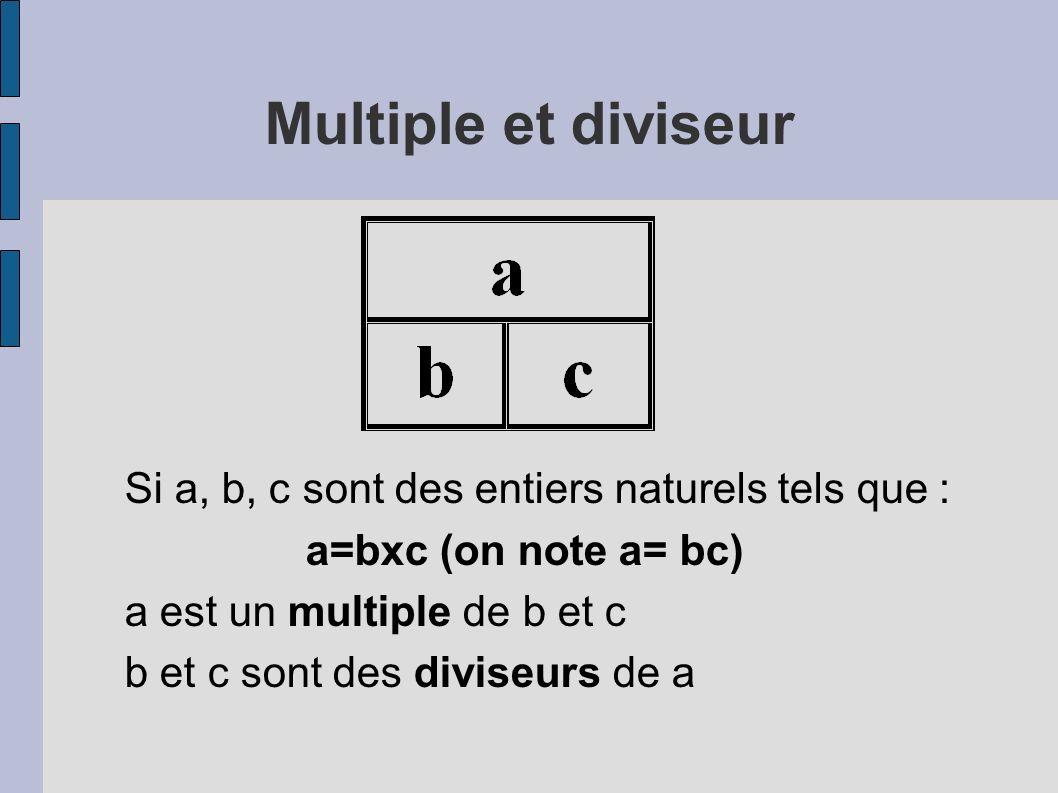 Multiple et diviseur Si a, b, c sont des entiers naturels tels que :