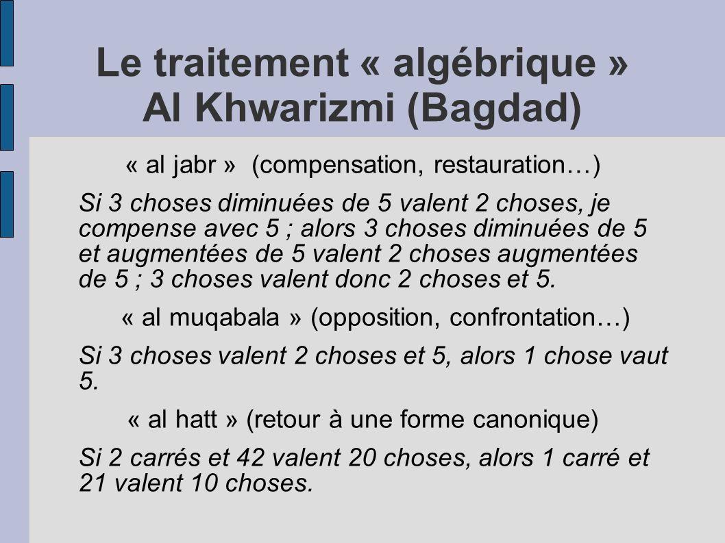 Le traitement « algébrique » Al Khwarizmi (Bagdad)