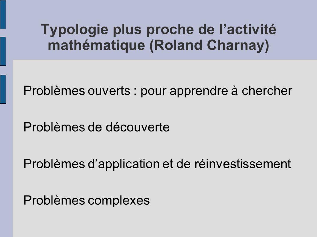 Typologie plus proche de l'activité mathématique (Roland Charnay)