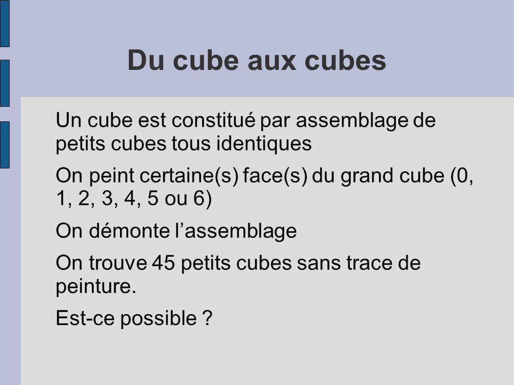 Du cube aux cubes Un cube est constitué par assemblage de petits cubes tous identiques.