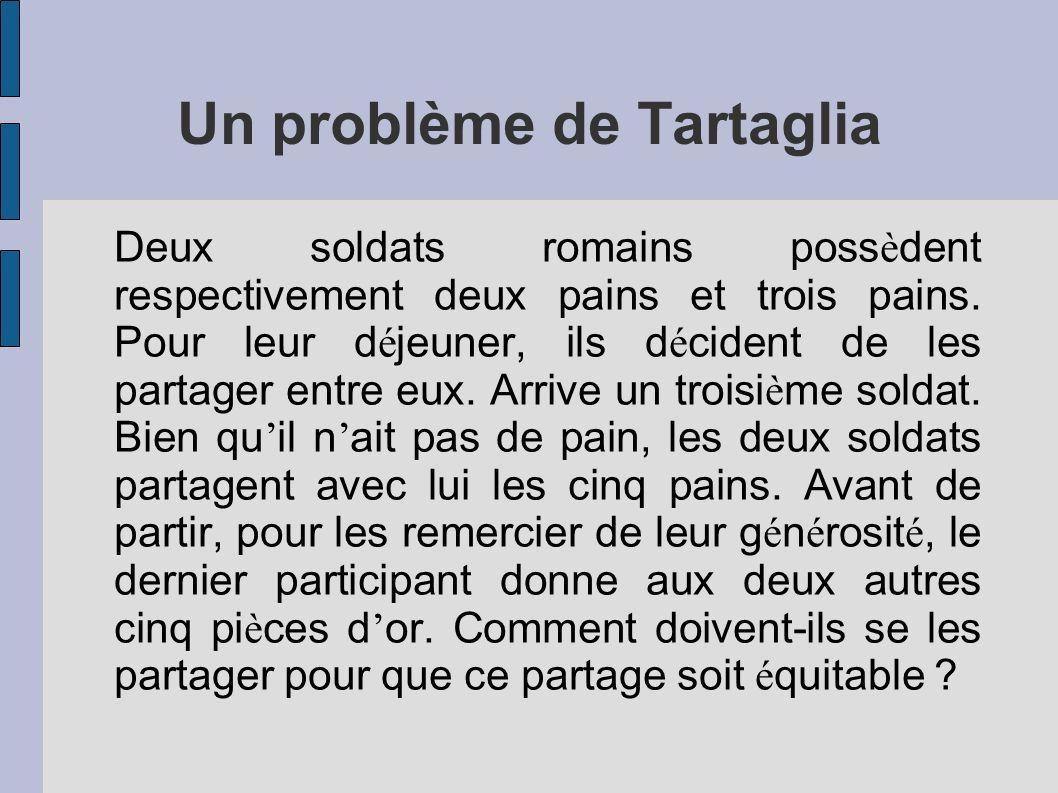 Un problème de Tartaglia